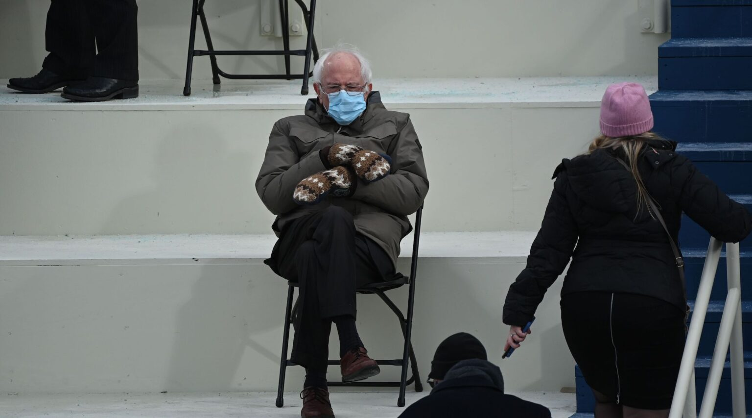 Bernie Sanders in his now iconic Inauguration Day pose and outfit, Jan. 20, 2021. (Photo/JTA-Brendan Smialowski-AFP via Getty Images)