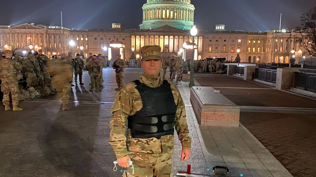 Rabbi Jordan Hersh has been deployed as part of the Maryland Army National Guard to the U.S. Capitol since a mob of Trump supporters stormed it on Jan. 6, 2021. (Photo/JTA-Courtesy Hersh)