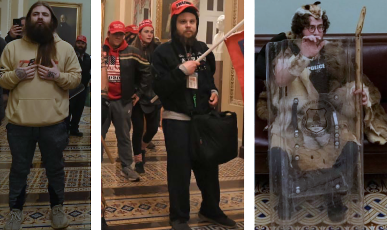 Aaron Mostofsky, right, was one of the rioters who entered the Capitol on Jan. 6, 2021. (Screenshot from D.C. Police)