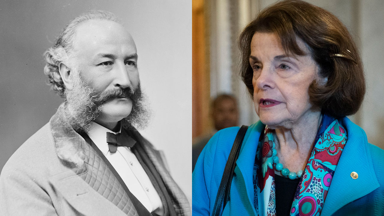 Gold Rush-era Jewish philanthropist and S.F. mayor Adolph Sutro (Photo/Wikimedia Commons); and Sen. Dianne Feinstein, also a former mayor of San Francisco (Photo/JTA-Drew Angerer-Getty Images)