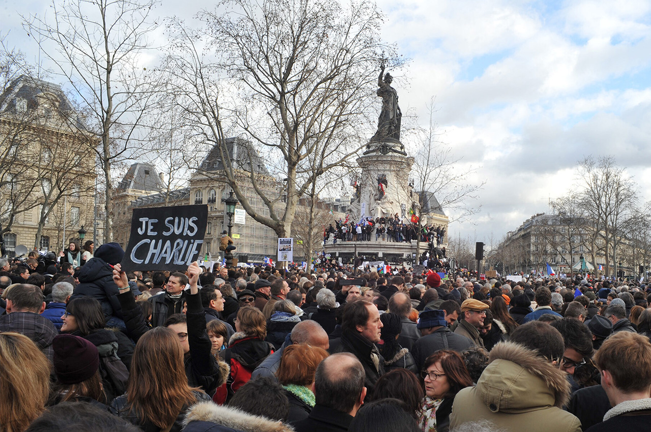 Protesters march through Paris on Jan. 11, 2015. (Photo/Wikimedia Commons-Sébastien Amiet)
