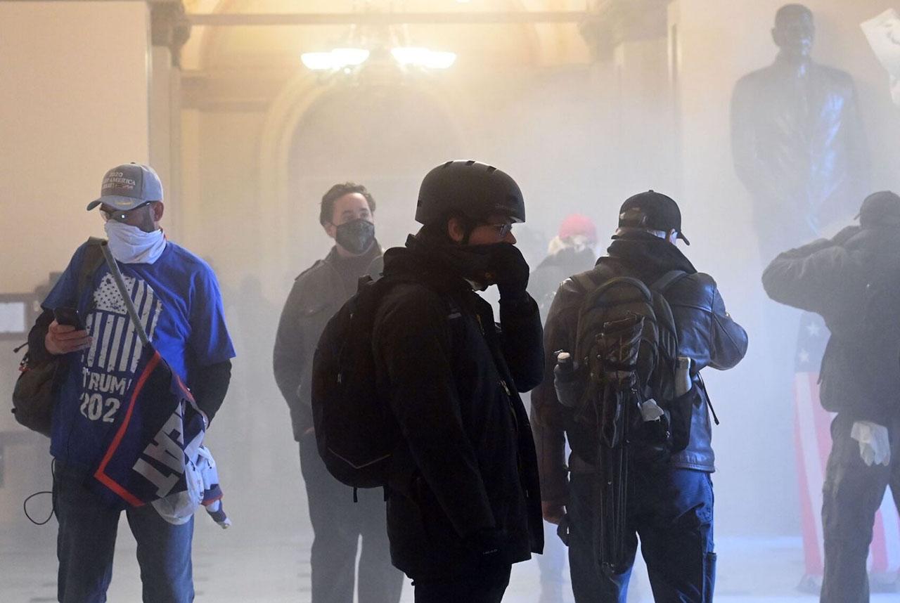 A pro-Trump mob enters the US Capitol as tear gas fills the corridor, Jan. 6, 2021. (Photo/JTA-Saul Loeb-AFP via Getty Images)