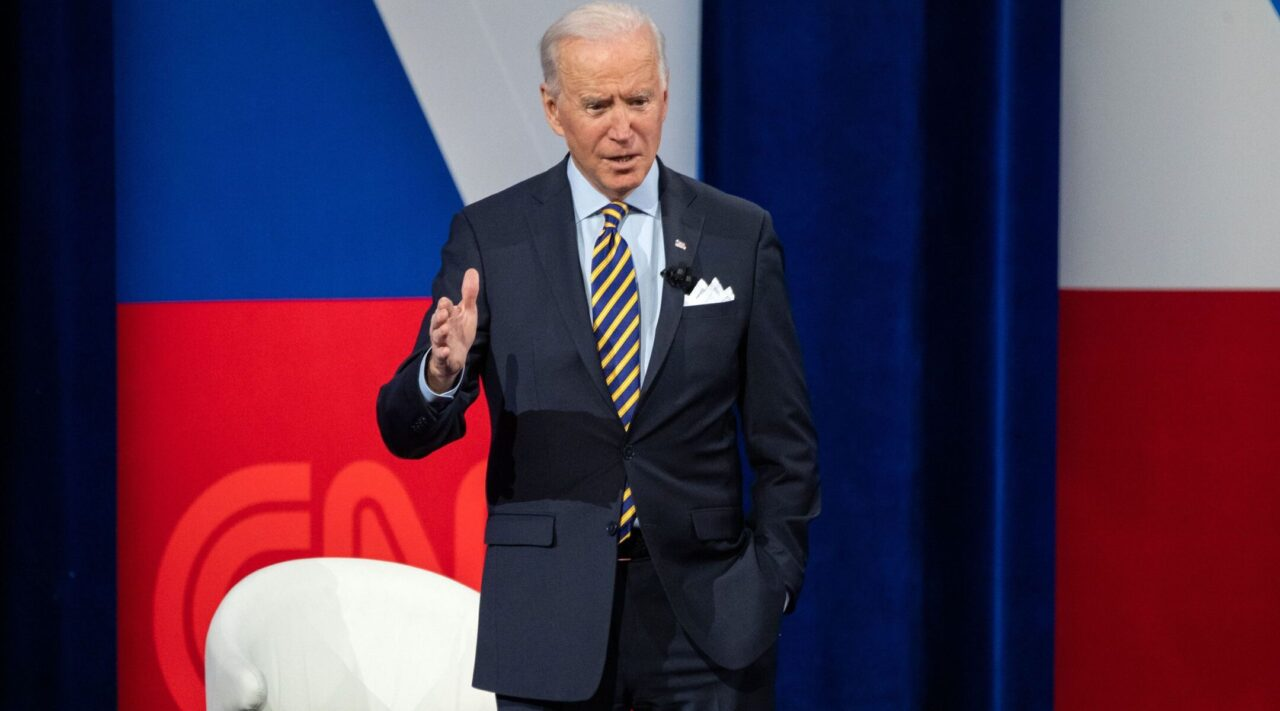 President Joe Biden participates in a CNN town hall at the Pabst Theater in Milwaukee, Wisconsin, Feb. 16, 2021. (Photo/JTA-Saul Loeb-AFP via Getty Images)