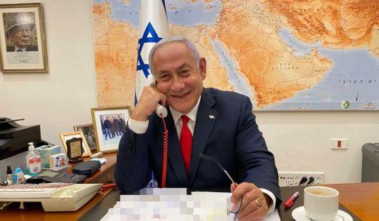 Prime Minister Benjamin Netanyahu speaks to President Joe Biden in his office in Jerusalem, Feb. 17, 2021. (Photo/Twitter)
