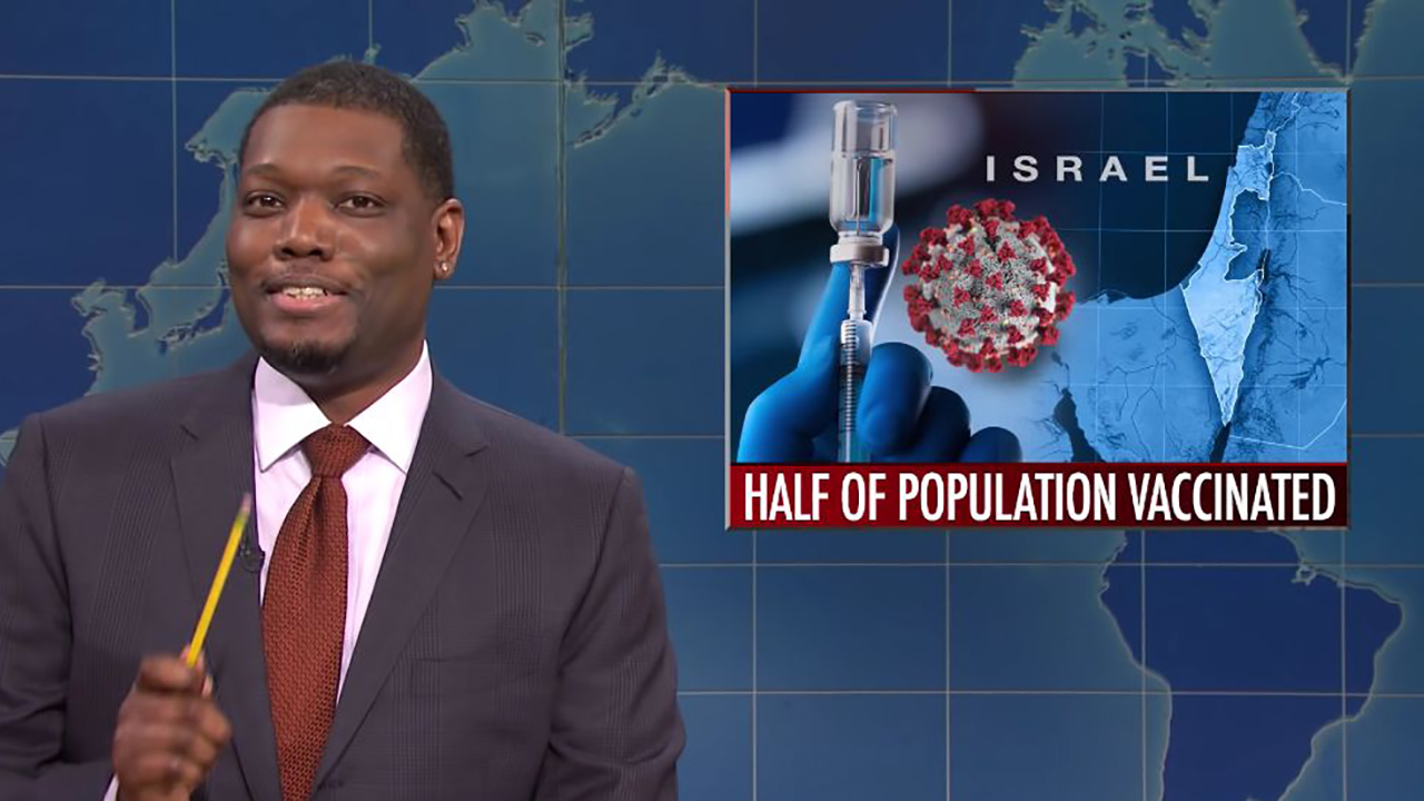 Michael Che makes a joke about Israel's vaccine rollout on Saturday Night Live on Feb. 20, 2021. (Screenshot/YouTube)