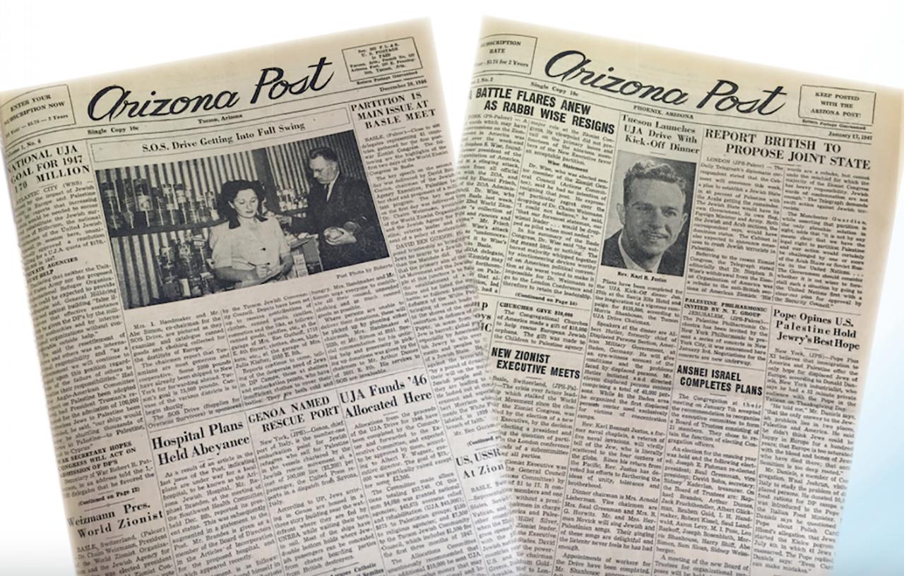Old covers of the Arizona Jewish Post.