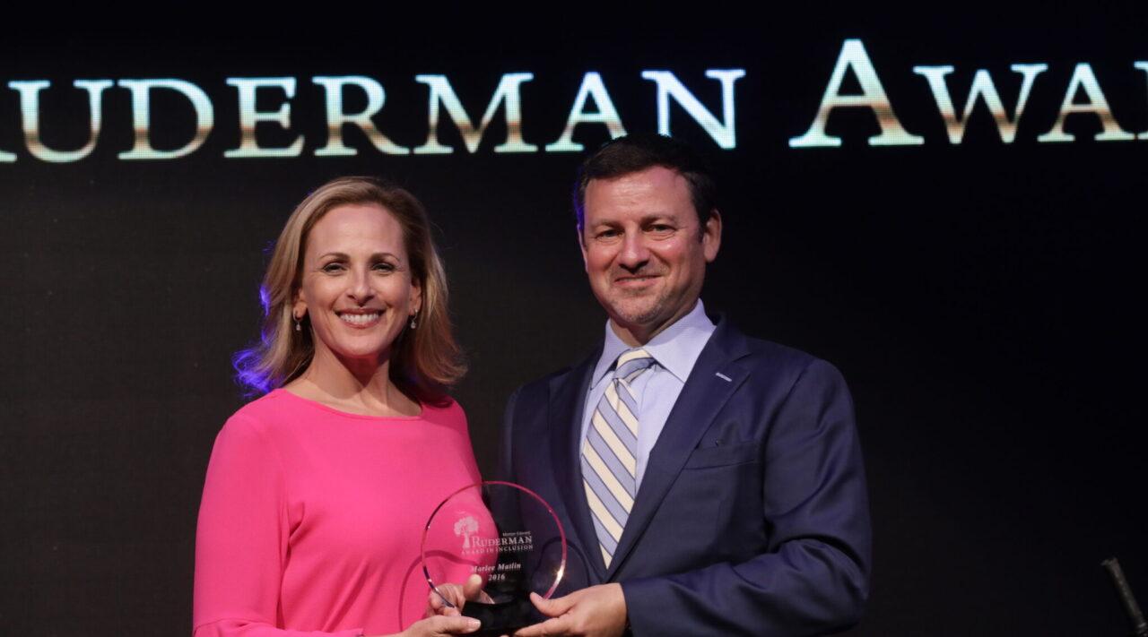 Marlee Matlin, an Oscar-winning actress who is deaf and Jewish, receives the Morton E. Ruderman Award in Tel Aviv from Jay Ruderman, June 19, 2017. (Photo/JTA-Erez Uzir)