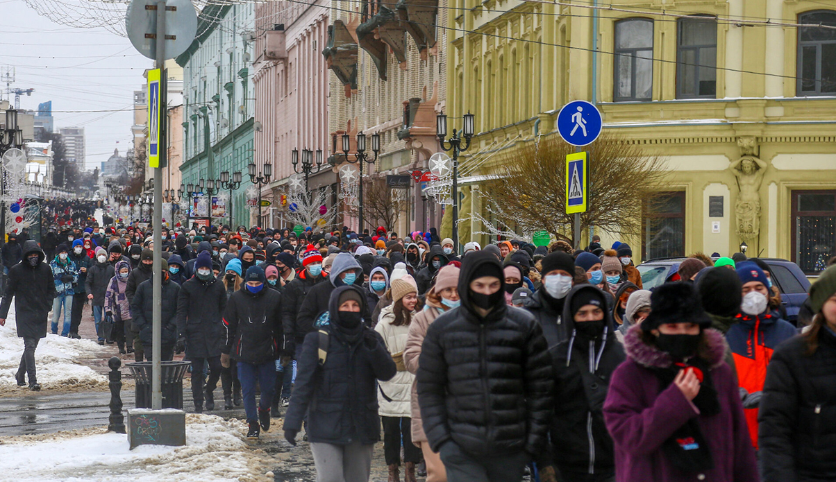 Opposition political leader Alexei Navalny's supporters seen marching in Nizhny Novgorod, Russia, Jan. 31, 2021. (Photo/JTA-Aleksey Fokin-SOPA Images-LightRocket via Getty Images)