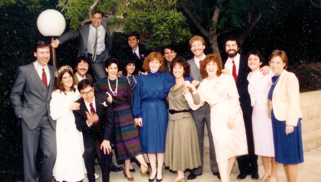 A group of early Bayit residents at a wedding in 1985.