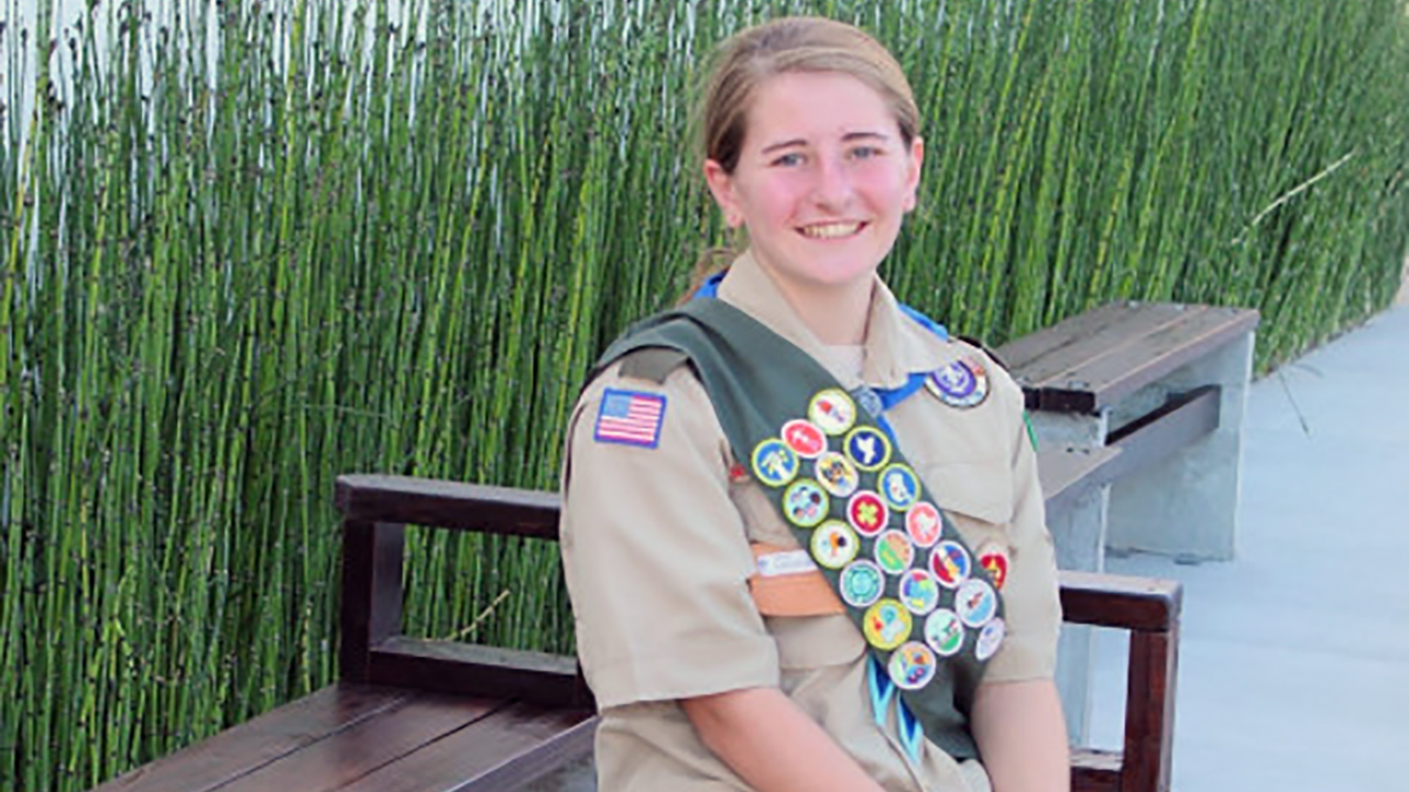 Erin Handelsman, who is among the first class of female Eagle Scouts, earned her rank by building these benches at Congregation Beth David in Saratoga.