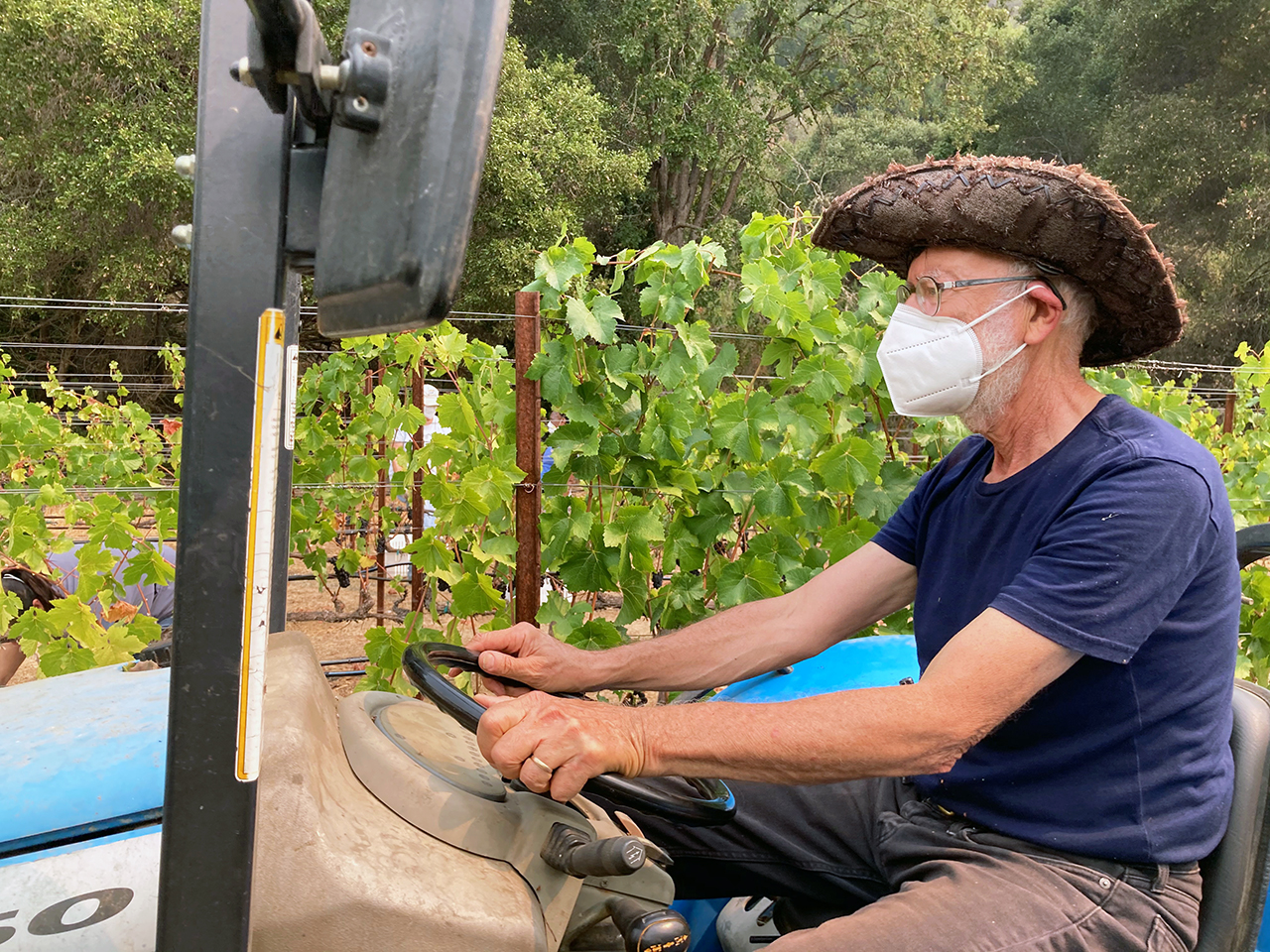 Len Lehmann, Portola Vineyards owner and winemaker, in the field in September 2020.