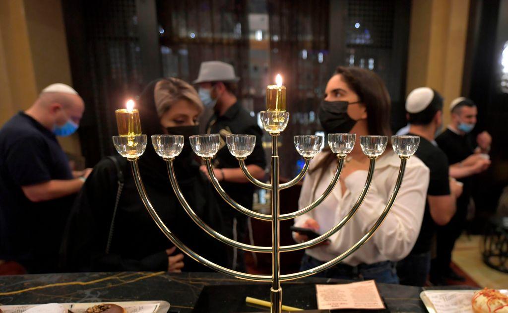 A menorah is seen as Israeli entrepreneurs celebrate Hanukkah for the first time at a hotel in Dubai, Dec. 10, 2020. (Photo/JTA-Karim SAHIB-AFP-Getty Images)