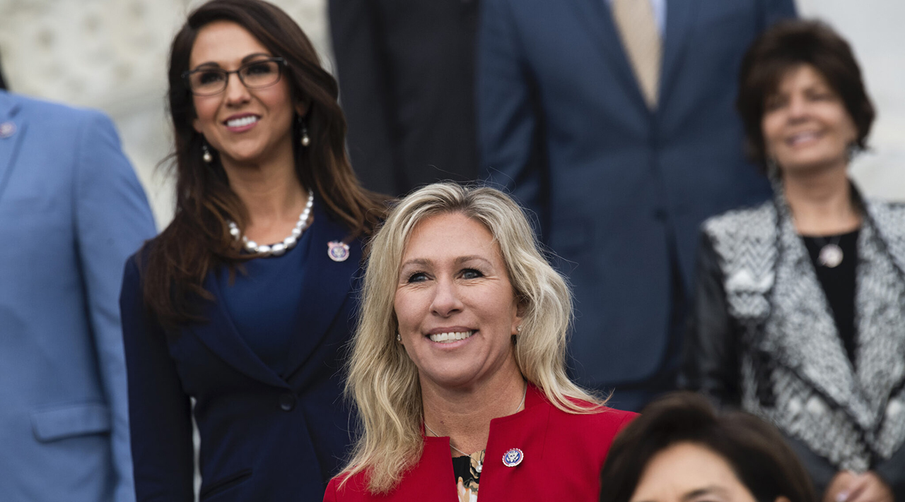 Reps. Marjorie Taylor Greene (center) and Lauren Boebert (left) are seen during a group photo with freshmen Republican members of the House in Washington, D.C., Jan. 4, 2021. (Photo/JTA-Tom Williams-CQ-Roll Call, Inc via Getty Images)