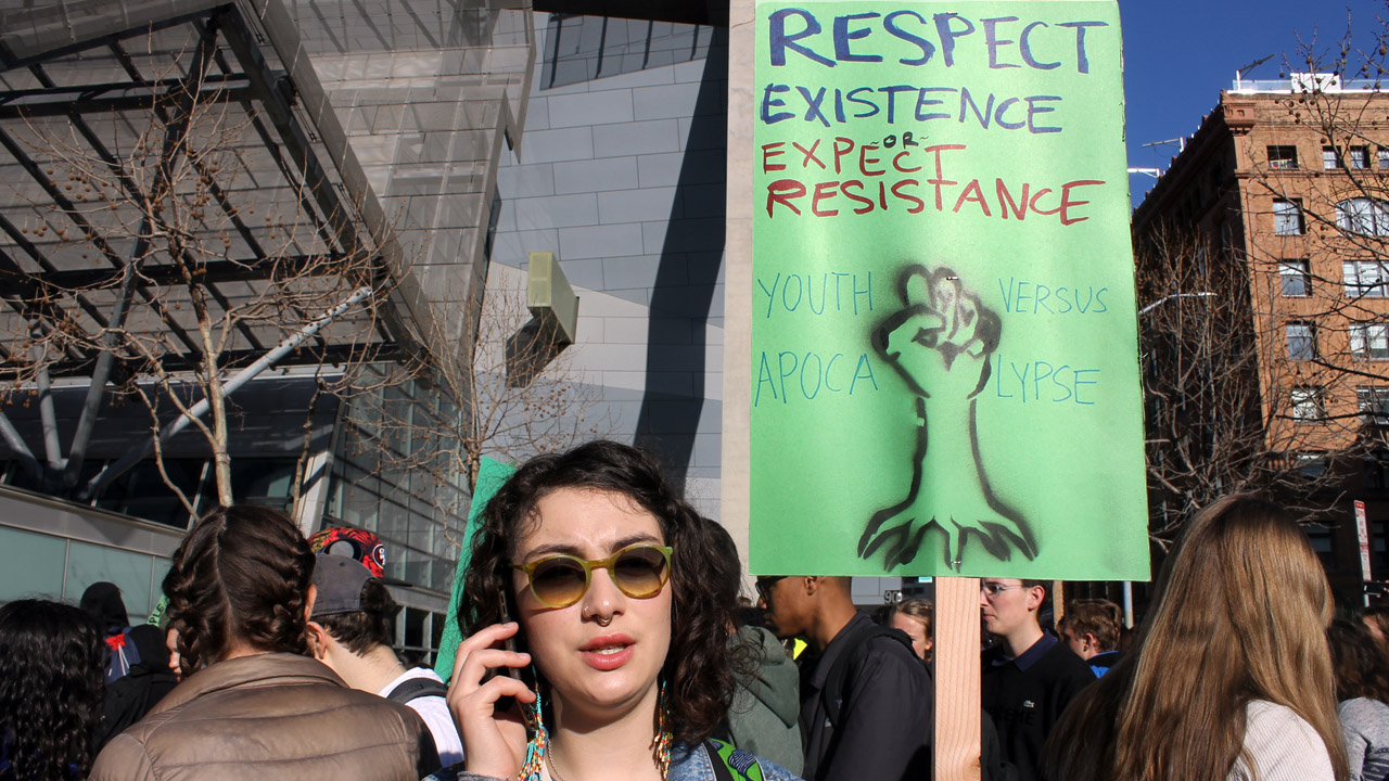 Sophie Katz, then a senior at Jewish Community High School of the Bay, at the March 15, 2019 youth climate protest in San Francisco. (Photo/Courtesy JCHS of the Bay)