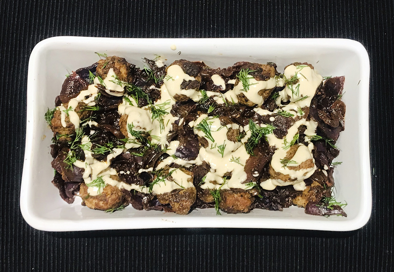 Red Cabbage and Onions with Meatballs (Photo/Faith Kramer)