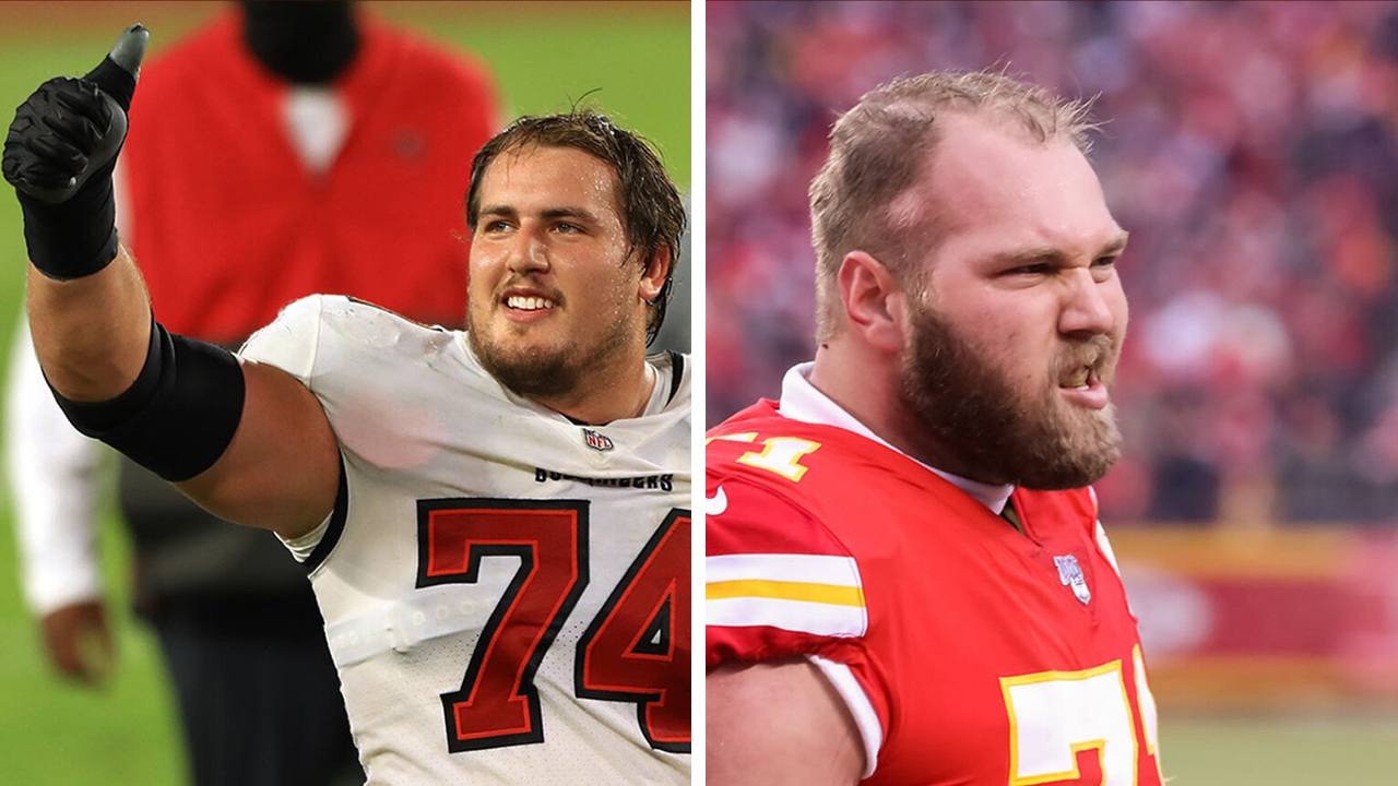 Ali Marpet (left) and Mitchell Schwartz are two of the NFL's few Jewish players. (Photos/JTA-Getty Images)