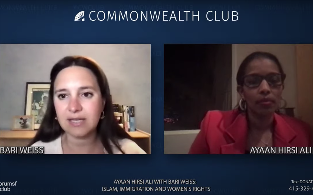 Bari Weiss (left) and Ayaan Hirsi Ali speak at a virtual event hosted by the Commonwealth Club, Feb. 11, 2021. (Screenshot/YouTube)