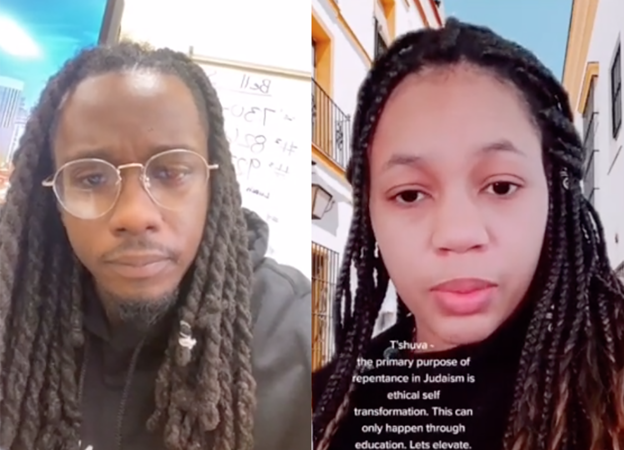 George Lee (left) learns about antisemitism and teshuvah from Shekhiynah Larks (right). (Screenshot/TikTok)