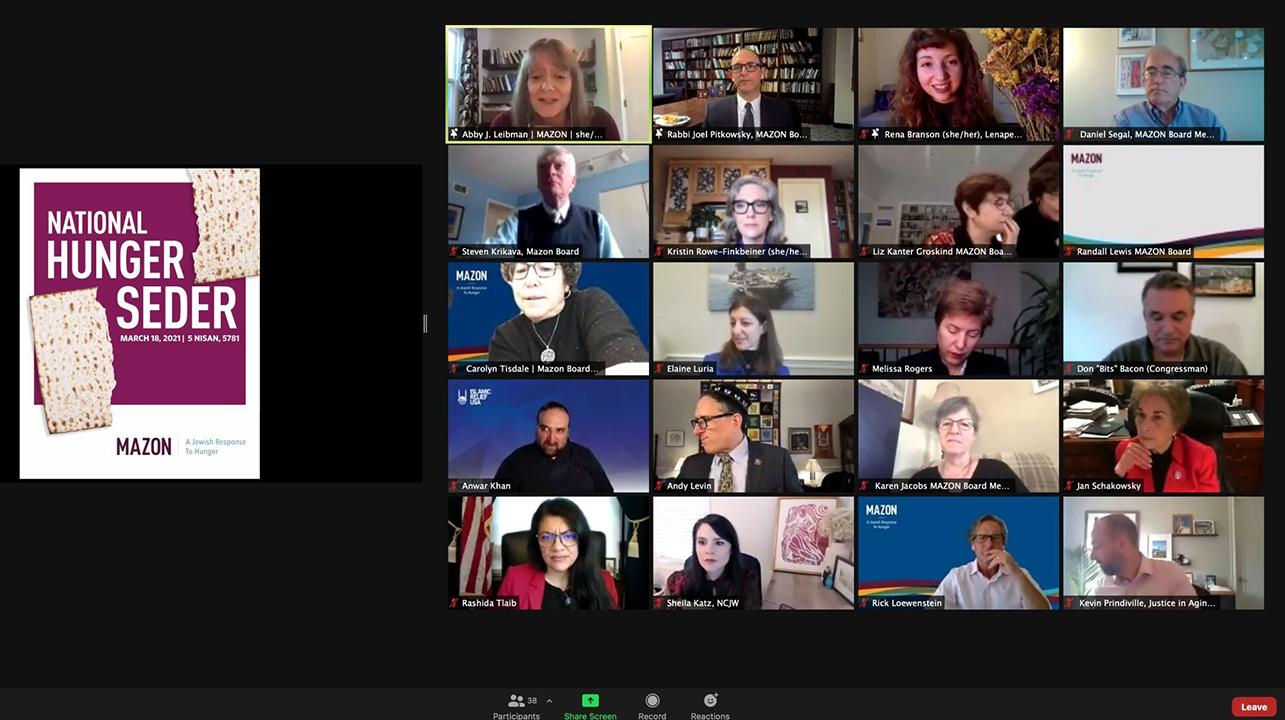 A screenshot of a virtual Seder for U.S. lawmakers hosted by Mazon, a Jewish hunger relief advocacy group, March 18, 2021. (Screenshot/Courtesy Mazon)