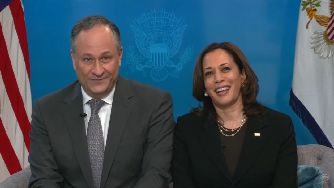 Vice President Kamala Harris and her husband Doug Emhoff participate in a virtual White House seder, March 25, 2021. (Screenshot)