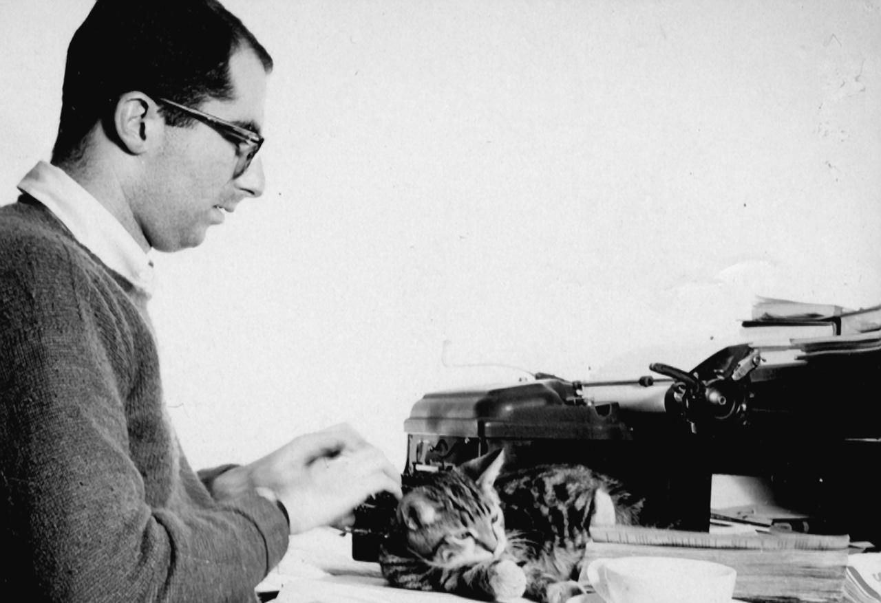 Philip Roth with Allegra the cat, Manhattan, 1959. (Photo/Courtesy W.W. Norton & Company)