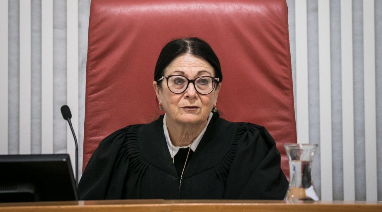 Supreme Court President Esther Hayut presides over the high court in Jerusalem, March 19, 2020. (Photo/JTA-Olivier Fitoussi-Flash90)