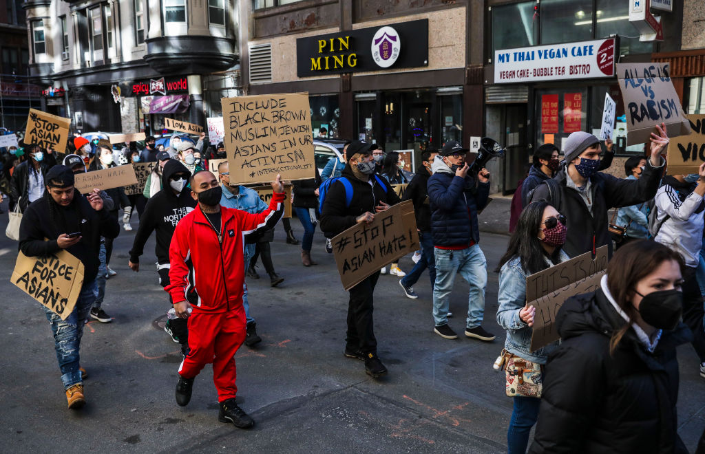 Hundreds march through Chinatown en route to the State House during a Stop Asian Hate Boston rally, March 13, 2021. (Photo/JTA-Erin Clark-The Boston Globe via Getty Images)