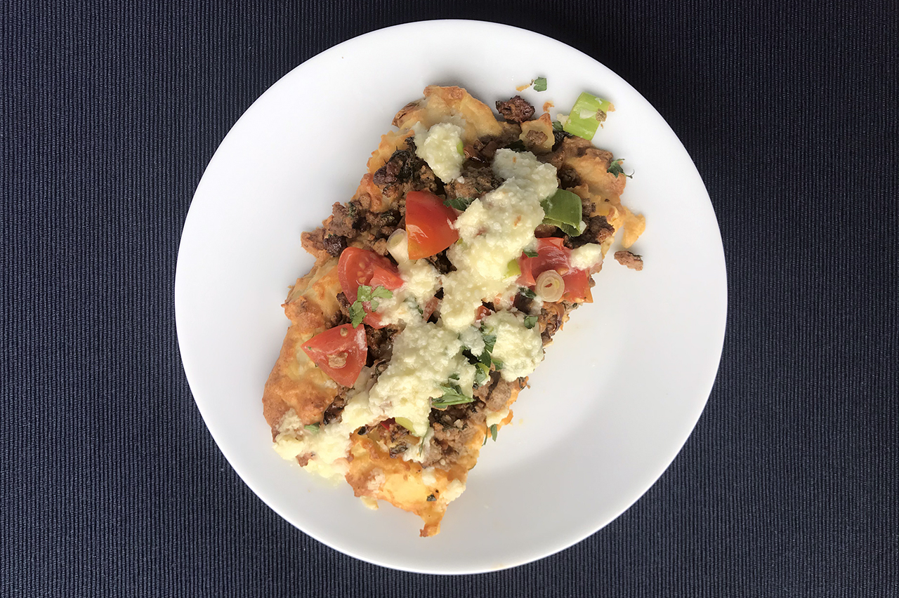 Potato Crust Pizza with Lamb and Herb Topping and Garlic-Lemon Sauce (Photo/Faith Kramer)