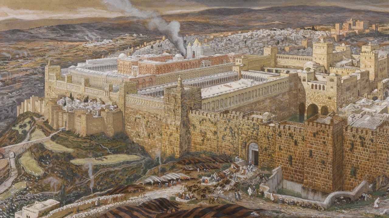 Smoke from the sacrificial altar rises up from Jerusalem in this 1890 painting by James Tissot.
