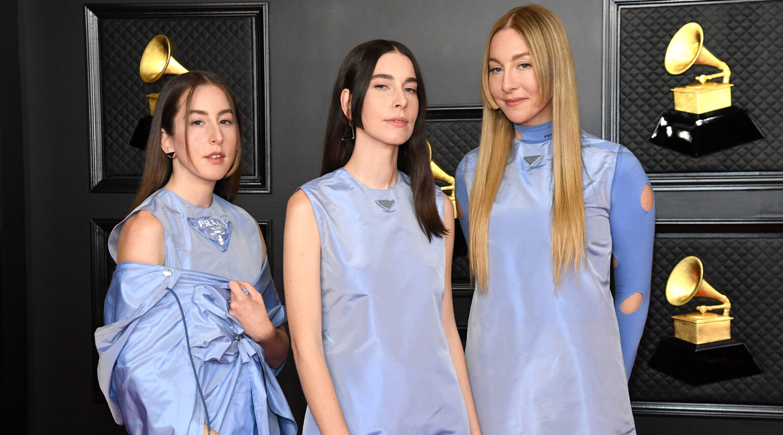 Alana Haim, Danielle Haim and Este Haim of the sister act Haim attend the 63rd Annual Grammy Awards, March 14, 2021. (Photo/JTA-Kevin Mazur-Getty Images for The Recording Academy)