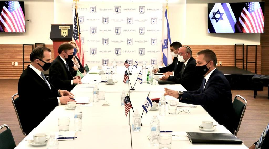 US National Security Adviser Jake Sullivan, sitting in the center on the left, meets with Meir Ben-Shabbat, his Israeli counterpart, facing him, at the Israeli Embassy in Washington, April 27, 2021. (Photo/JTA-Israeli Embassy)