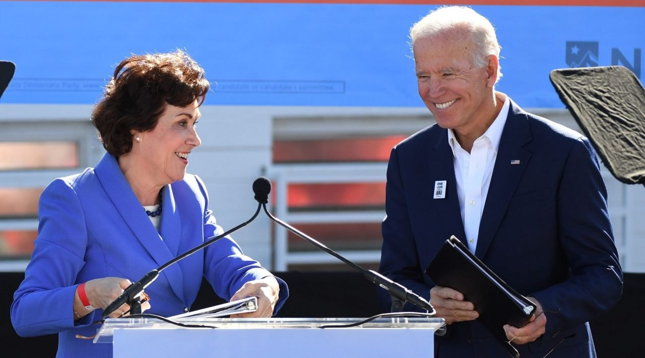 Then-Senate candidate Jacky Rosen introduces former Vice President Joe Biden as he campaigns for Nevada Democratic candidates during a rally in Las Vegas, Oct. 20, 2018. (Photo/JTA-Ethan Miller-Getty Images)