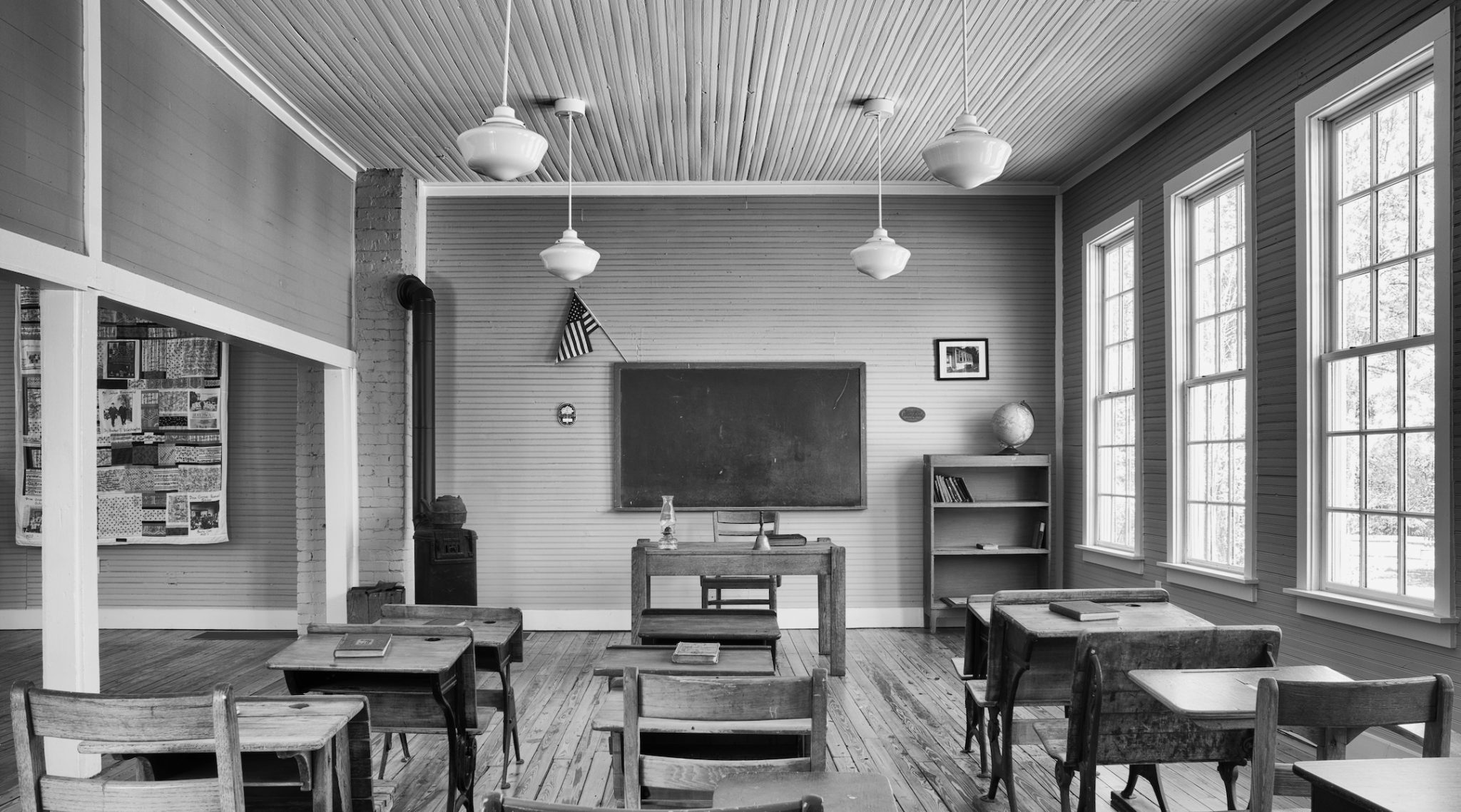 "A restored classroom in Pine Grove School in South Carolina's Richland County, one of the ""Rosenwald schools"" funded by the Jewish philanthropist Julius Rosenwald to educate Black children in the segregated South. (Photo/Andrew Feiler)"