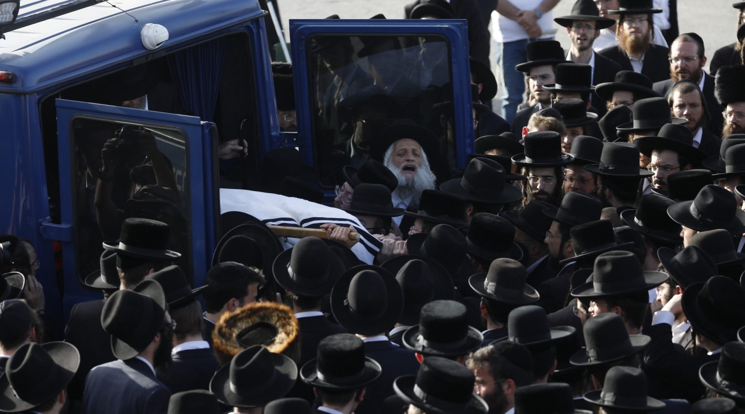Hundreds of Orthodox Jews mourn at the funeral of Yehuda Lev Lubin, one of 45 victims from the Mount Meron Lag B'Omer stampede, April 30, 2021. (Photo/JTA-Olivier Fitoussi-Flash90)
