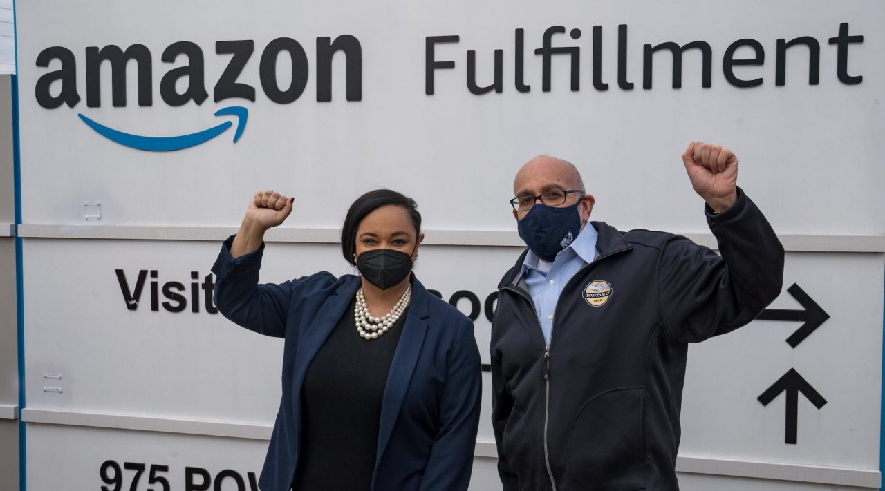 Rep. Nikema Williams of Georgia and Stuart Appelbaum, president of the Retail, Wholesale and Department Store Union, visit the Amazon Fulfillment Center in Bessemer, Alabama, March 5, 2021. (Photo/JTA-Megan Varner-Getty Images)
