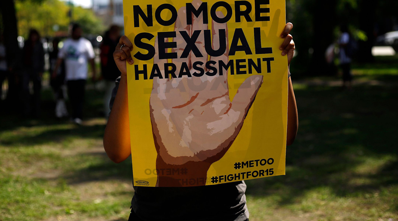 A sign from a protest against sexual harassment in the workplace in Chicago, Sept. 18, 2018. (Photo/JTA-Joshua Lott-AFP via Getty Images)