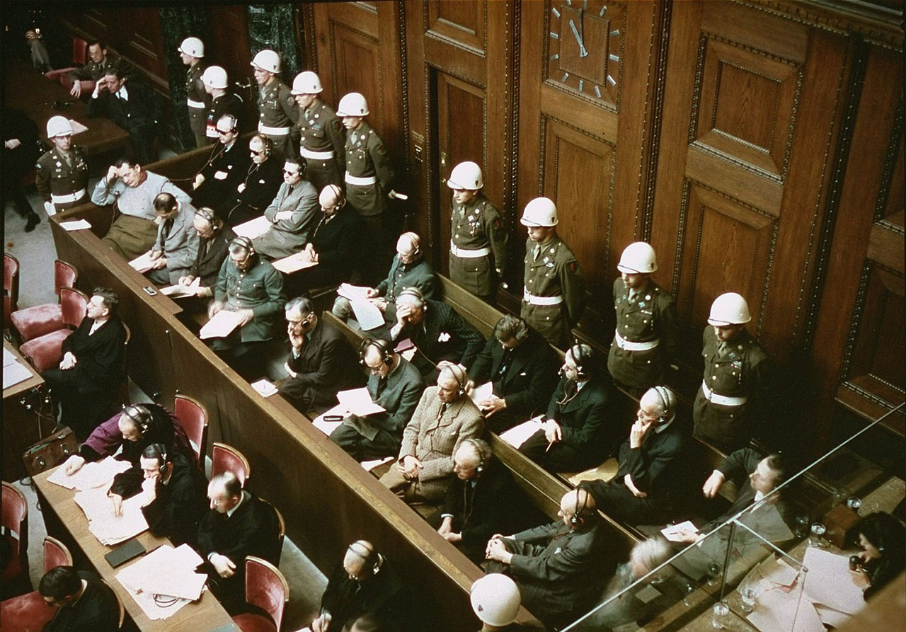 Defendants in the dock at the International Military Tribunal trial of war criminals at Nuremberg.  (Photo/United States Holocaust Memorial Museum-Courtesy National Archives and Records Administration, College Park)