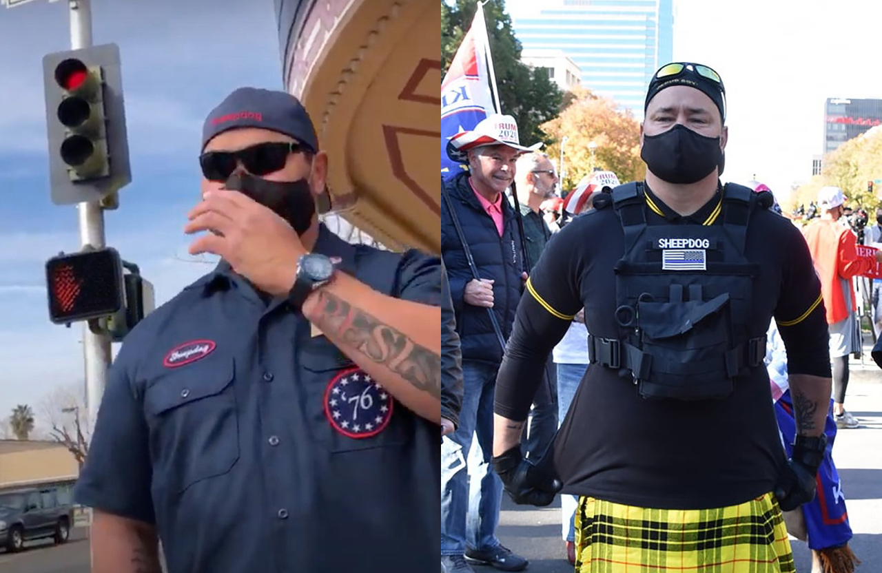 Photos posted on social media show former Fresno police officer Rick Fitzgerald attending rallies with the Proud Boys. (Photos/Twitter)
