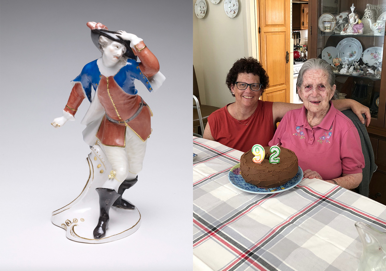 Left: This 18th-century porcelain figurine of the commedia dell'arte character Capitan Spaventa owned by the Kaumheimers and lost for 64 years can be seen at the Legion of Honor. (Photo/Courtesy Fine Arts Museums of San Francisco); Right: Janet Reves with her mom, Margaret Kaplan, in 2018.