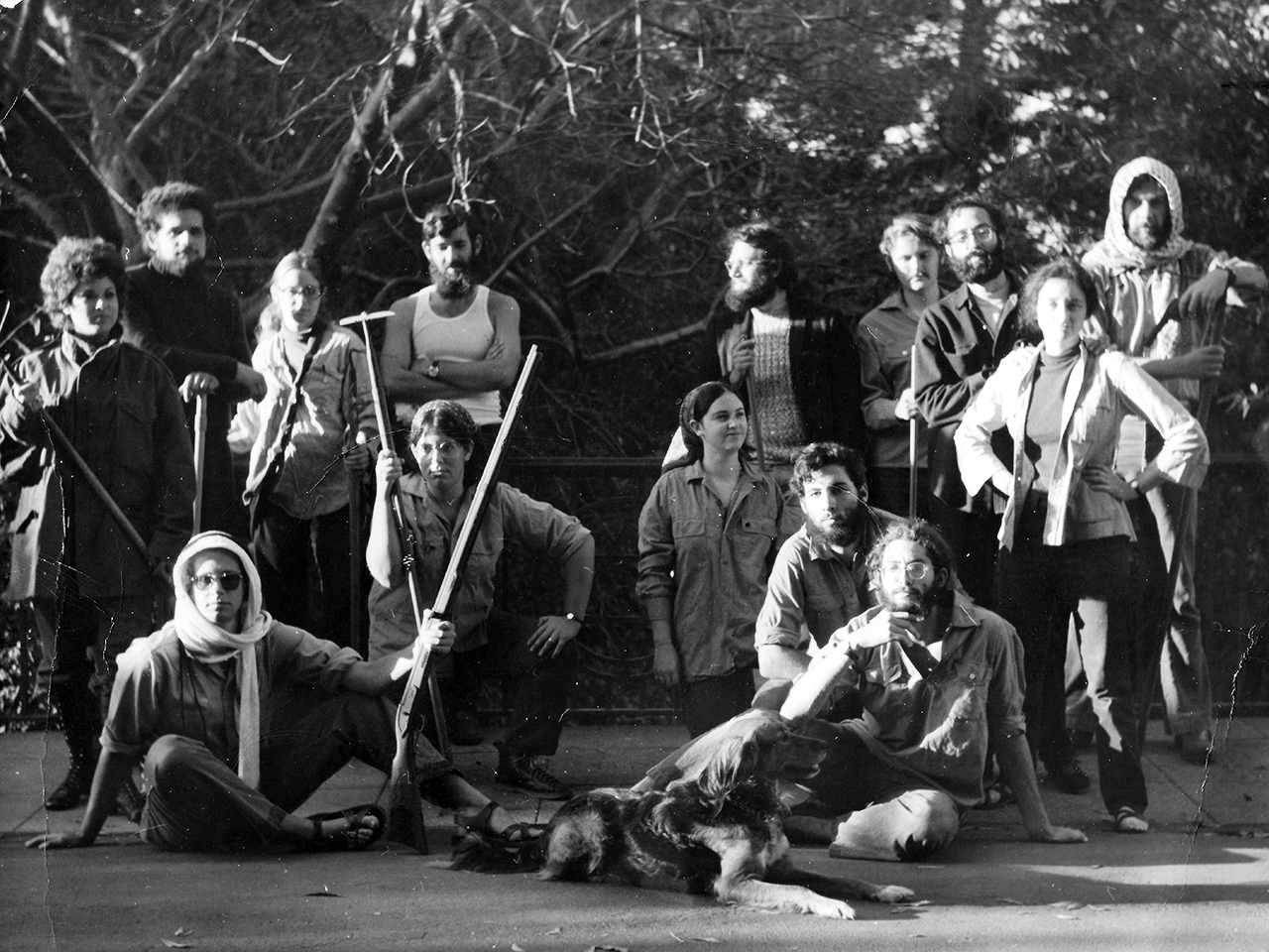 "A group of young Bay Area Jews, many of whom were involved with the sit-in, pose as ""chalutzim"" at UC Berkeley in the '70s. Standing (from left): Elaine Schlackman, David De Nola, Marcie Lincoff, David Lichtenstein, Arnie Druck, Jack Morgenstein, Buddy Timberg, Judy Timberg and Shaul Osadchy. Seated/kneeling (from left): David Biale, Jane Rubin, Miri Gold, Bradley Burston, Ken Bob and the Timbergs' dog."