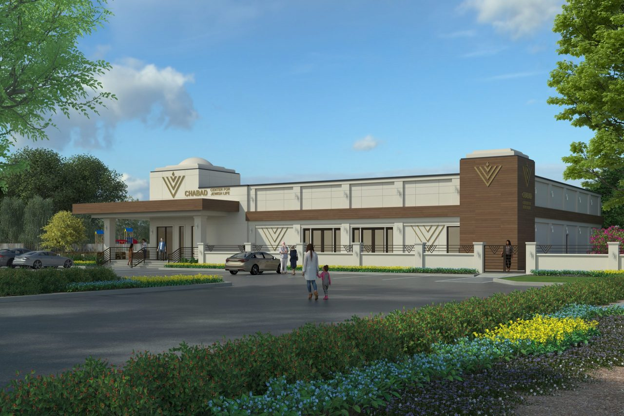 Architectural rendering of building and parking lot