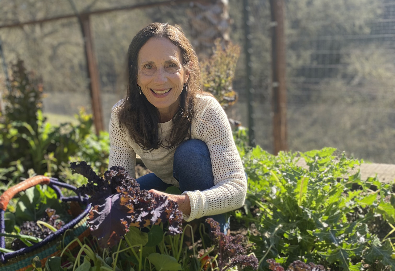 Cindy Gershen in her school's garden in Concord.