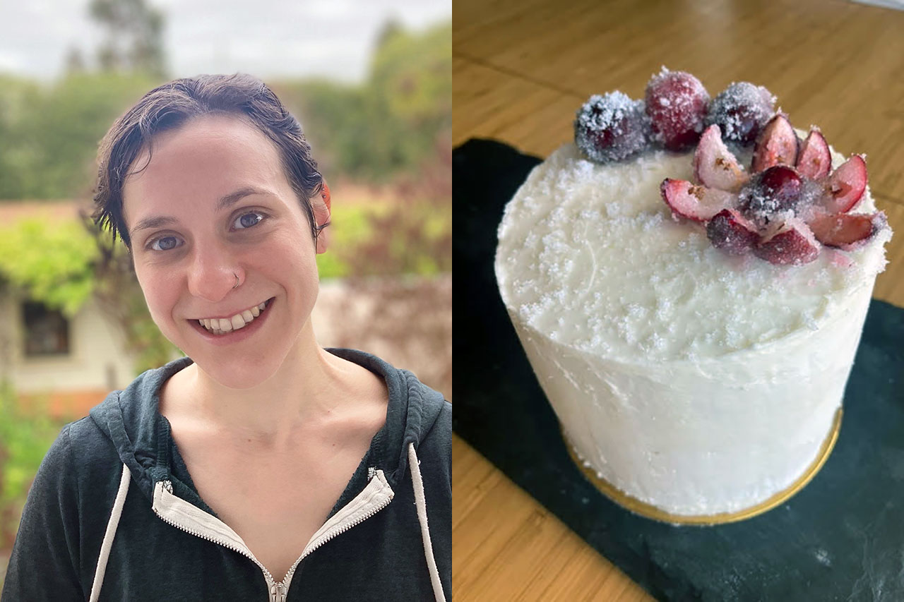 Two photos side-by-side: On the left, a young white woman stands smiling outside. On the right, a white cake with red decorations on top.