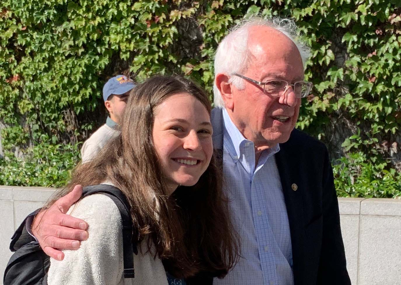 Sen. Bernie Sanders and youth climate activist Sarah Goody.