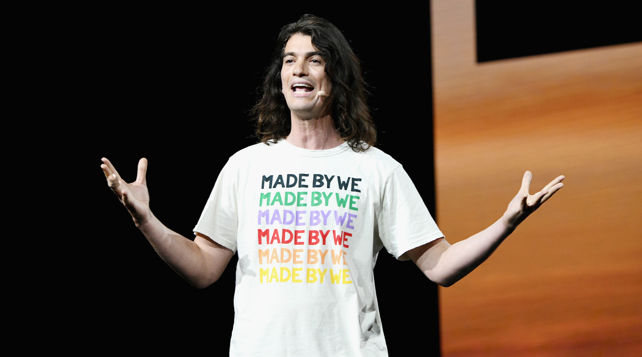 Adam Neumann speaks at a WeWork event at the Microsoft Theater in Los Angeles, Jan. 9, 2019. (Photo/JTA-Michael Kovac-Getty Images for WeWork)