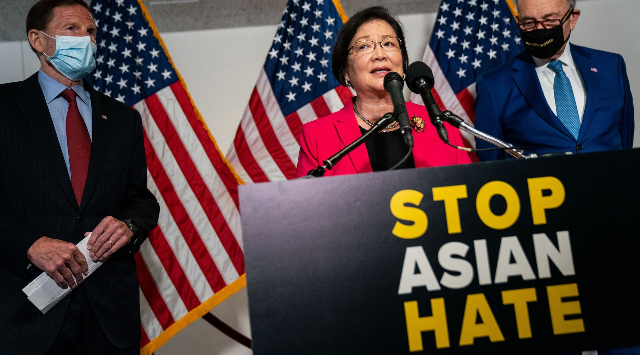 Sen. Mazie Hirono, D-Hawaii, who introduced the COVID-19 Hate Crimes Act, speaks in Washington, D.C. on April 20, 2021. (Photo/JTA-Kent Nishimura-Los Angeles Times via Getty Images)