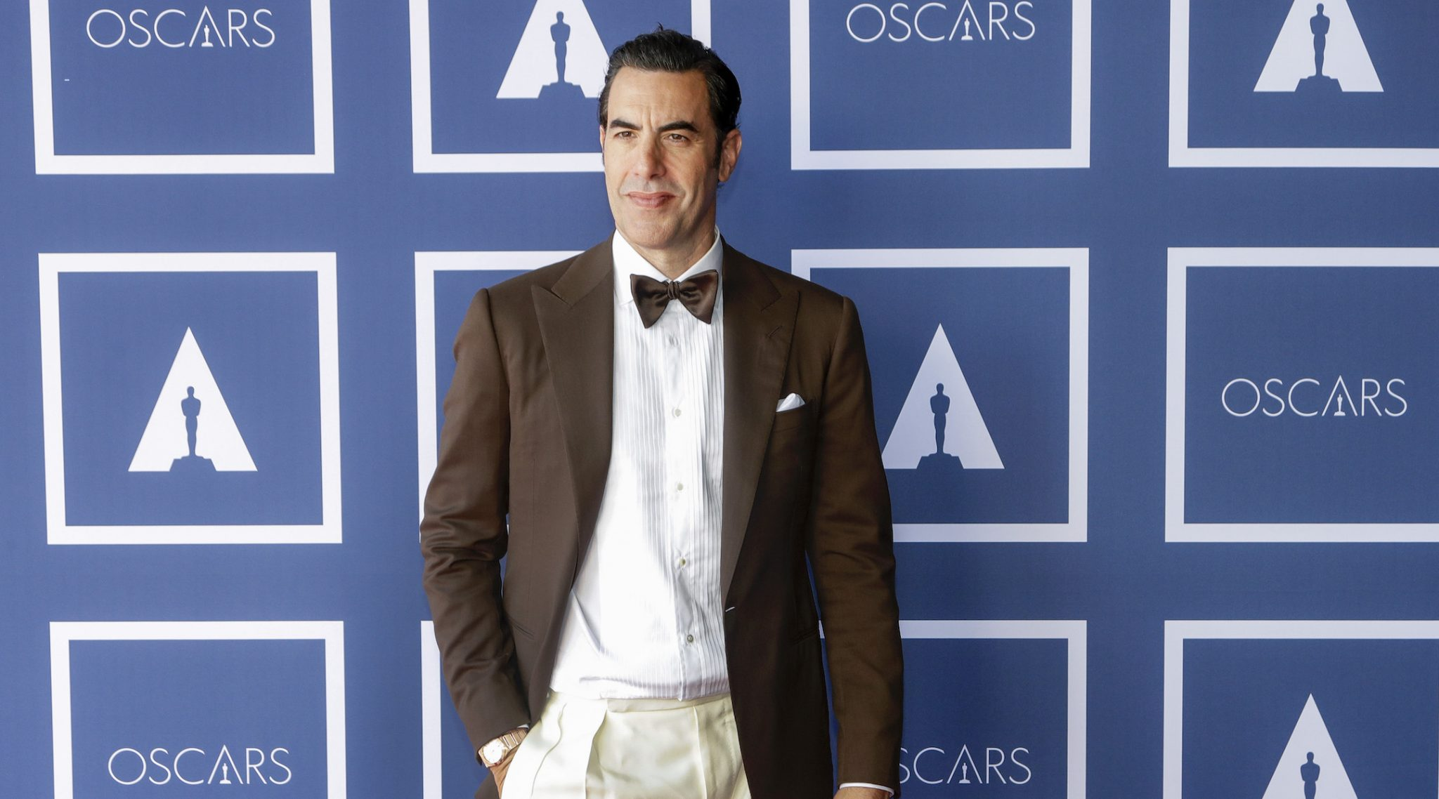 Sacha Baron Cohen poses during a screening of the Oscars in Sydney, Australia, April 25, 2021. (Photo/JTA-Rick Rycroft-Pool-Getty Images)