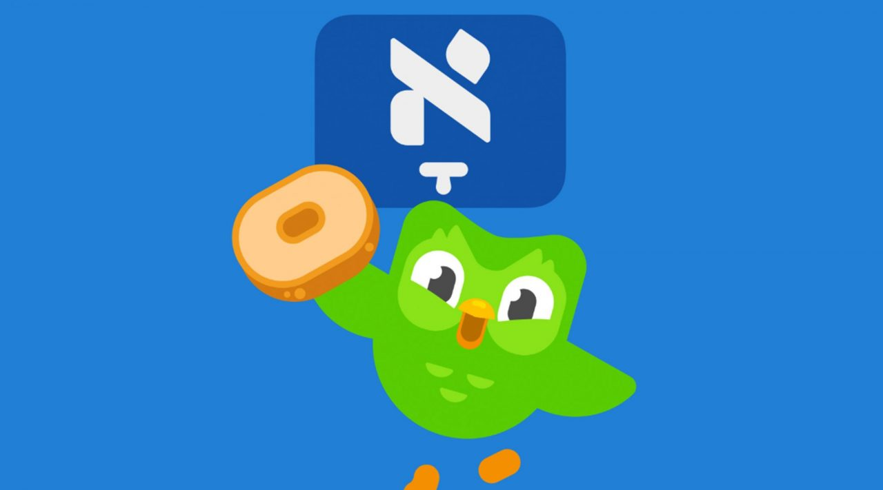 "Duolingo's ""flag"" for the Yiddish course showcases an aleph with a ""komets"" diacritic, a foundational Yiddish letter. (Image/Courtesy Duolingo)"