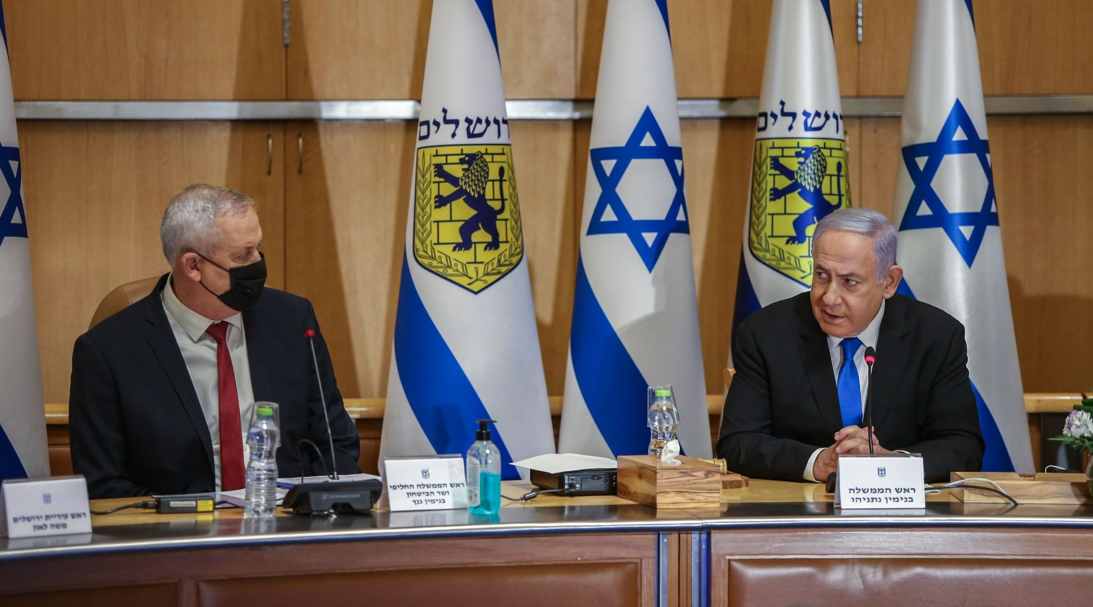 Israeli Prime Minister Benjamin Netanyahu, (right) and Defense Minister Benny Gantz at the weekly Cabinet meeting, at Jerusalem City Hall, May 9, 2021. (Photo/JTA-Amit Shabi)