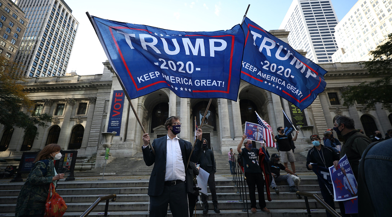 Some Trump-supporting Jews gather in front of the New York Public Library on Fifth Avenue as part of a protest to stop antisemitism, Oct. 15, 2020. (Photo/JTA-Tayfun Coskun-Anadolu Agency via Getty Images)
